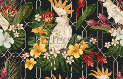 Fototapeta Bezszwowy tropikalny deseniowy tło z tropikalnymi kwiatami i kakadu ptakiem. Tropicana tapeta, cyfrowy papier, raster ilustracja w rocznika Hawajczyka stylu.