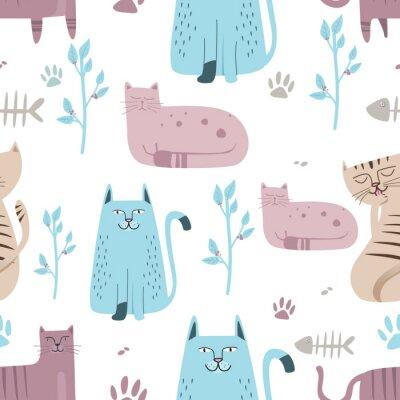 Fototapeta Bezszwowy wzór Śliczny kot z ręka rysującą kreskówką