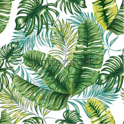 Fototapeta Bezszwowy wzór tropikalny drzewko palmowe, dżungla opuszcza i kwitnie. Rysunek odręczny. Wektor kwiatowy wzór.