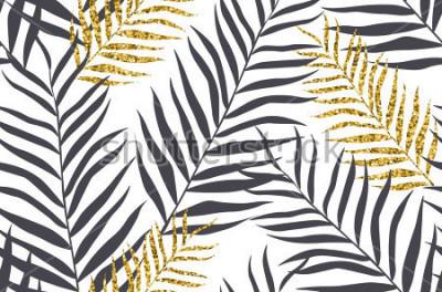 Fototapeta Bezszwowy wzór z bananem i złotymi palmowymi liśćmi w wektorze