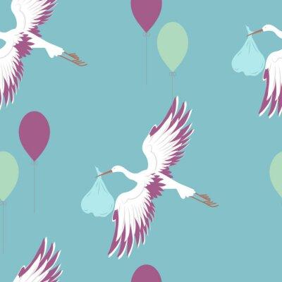 Fototapeta Bezszwowy wzór z bocianem i balonami