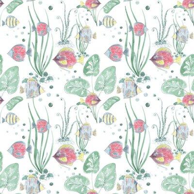Fototapeta Bezszwowy wzór z kolorową egzot ryba na lekkim tle.