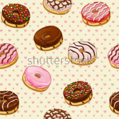 Fototapeta Bezszwowy wzór z kolorowymi smakowitymi donuts