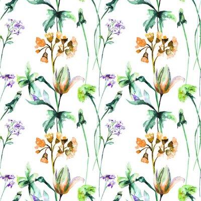 Fototapeta Bezszwowy wzór z oryginalnymi lato kwiatami