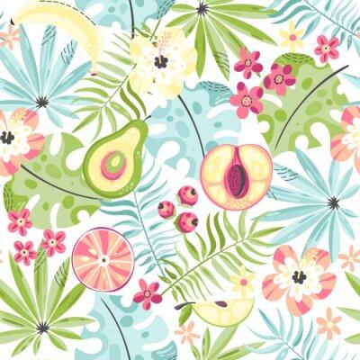 Fototapeta Bezszwowy wzór z owoc i kwiatami