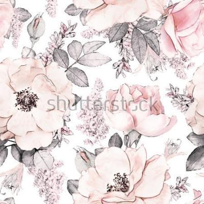 Fototapeta Bezszwowy wzór z różowymi kwiatami i liśćmi na białym tle, akwarela kwiecisty wzór, kwiat wzrastał w pastelowym kolorze, tileable dla tapety, karty lub tkaniny ,.
