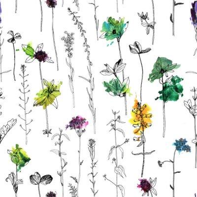 Fototapeta Bezszwowy wzór z rysunkowymi ziele i kwiatami