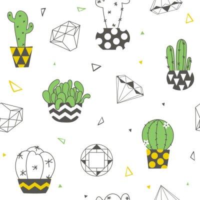 Fototapeta Bezszwowy wzór z śmiesznymi kaktusami