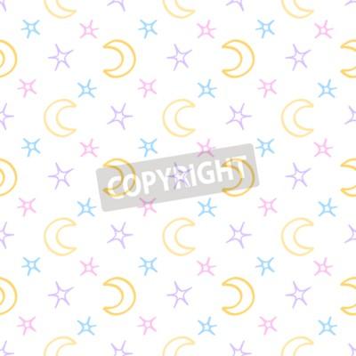 Fototapeta Bezszwowych miękkich gwiazd i księżyc nocne tło dziecka. Słodki wzór marzeń