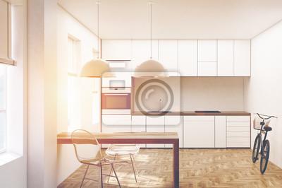 Fototapeta Biała Kuchnia Drewniane Podłogi Z Przodu Stonowanych