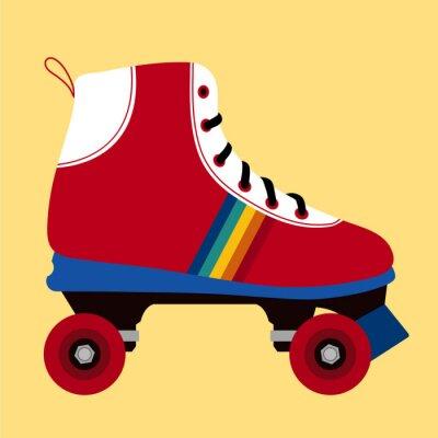 Fototapeta Białe i czerwone buty na łyżwach