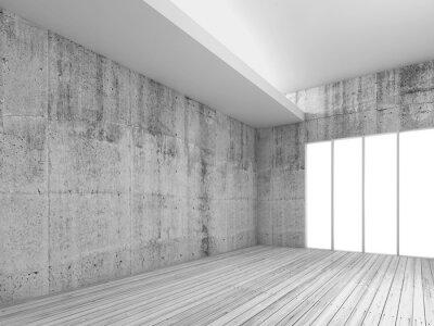 Fototapeta Białe wnętrza tła z drewnianą podłogą, 3d