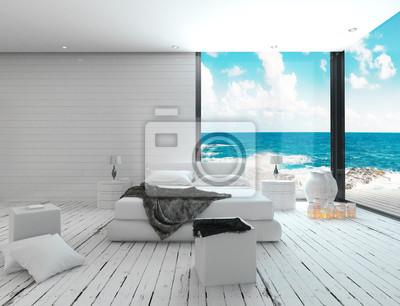 Białe Wnętrze Sypialni W Stylu Marynistycznym I Widokiem Na Morze