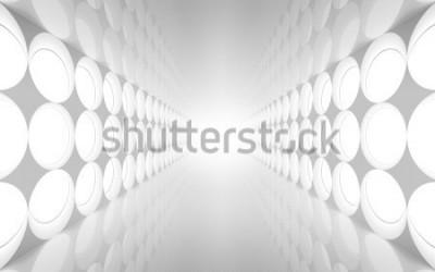 Fototapeta Biały abstrakcjonistyczny 3d wnętrze z round dekoraci świateł wzorem na ścianie