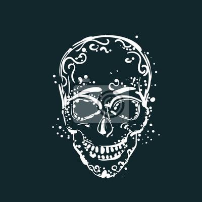 Fototapeta Biały Czaszka Tatuaż Na Ciemnym Tle Meksykański Wakacje Element