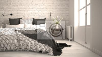 Fototapeta Biały I Szary Nowoczesna Sypialnia Z Przytulnym łóżkiem Podwójnym