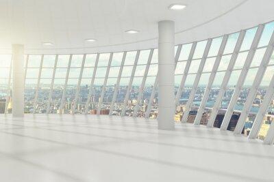 Fototapeta Biały pusty biurowy z Cityview