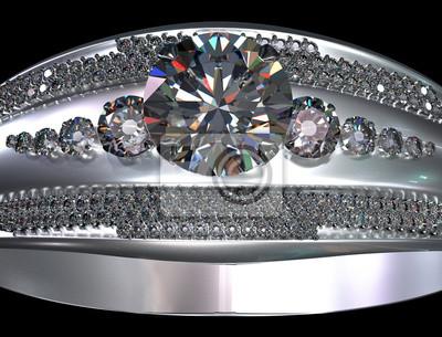 6e3c7759e1c66b Fototapeta Biały złoty pierścionek zaręczynowy z klejnotem diamentowym.  Luksusowa biżuteria biżuterii ze srebra lub platyny