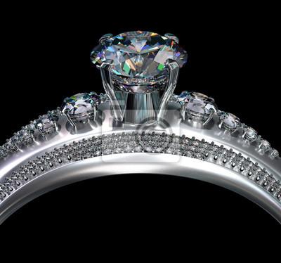 3f838bd548fdcf Fototapeta Biały złoty pierścionek zaręczynowy z klejnotem diamentowym.  Luksusowe Biżuteria Biżuteria ze srebra lub platyny