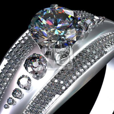 Biały Złoty Pierścionek Zaręczynowy Z Klejnotem Z Diamentem