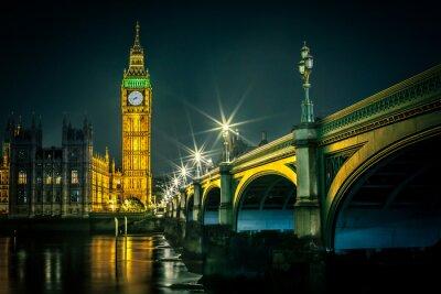Fototapeta Big Ben i Houses of Parliament na zmierzchu, Londyn, Wielka Brytania