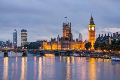 Fototapeta Big Ben i Westminster Bridge na zmierzchu, Londyn, Wielka Brytania