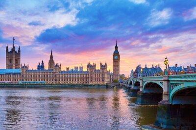 Fototapeta Big Ben i Westminster Bridge z Tamizy