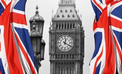 Fototapeta Big Ben w Londynie i angielskiej flagi