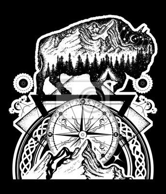 Bison I Góry Tatuaż Sztuki Symbol Podróży Byków Buffalo Turystyka