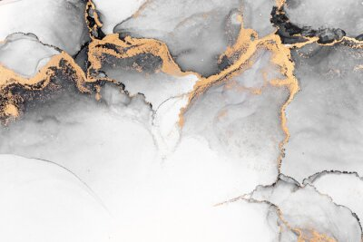 Fototapeta Black gold abstract background of marble liquid ink art painting on paper . Image of original artwork watercolor alcohol ink paint on high quality paper texture .