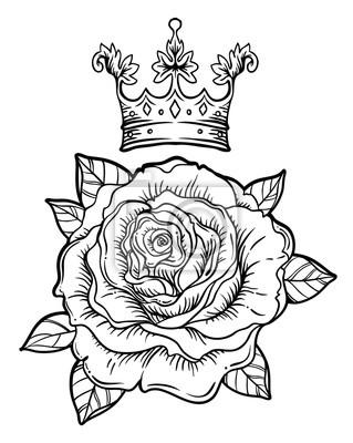 Fototapeta Blackwork Tatuaż Flash Z Różą Kwiat Róży Bardzo Szczegółowe