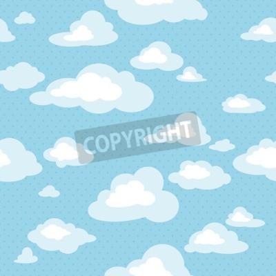 Fototapeta Błękitne niebo z chmurami, wektor bez szwu deseń