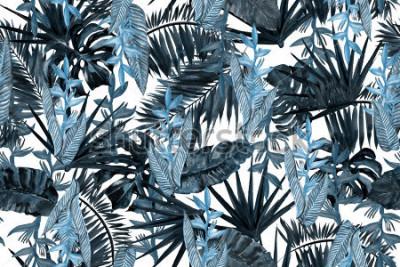 Fototapeta Błękitny ciemny kwiecisty wzór opuszcza tło. Liść palmowy i banan pozostawia strelizia tropikalnych kwiatów. Akwarela malarstwo tropikalne liście ilustracja wzór.