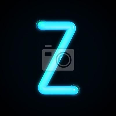 Błękitny Neon świecące Litera Z Literą Litery Z Grafika
