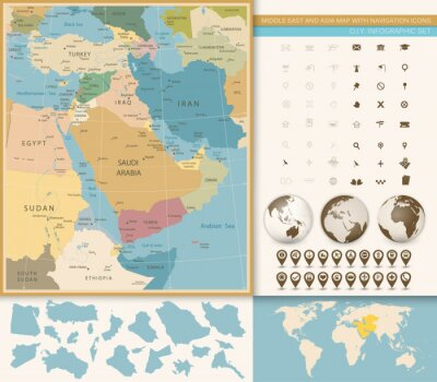 Fototapeta Bliski Wschód i Azja Zachodnia Mapa Vintage Kolory