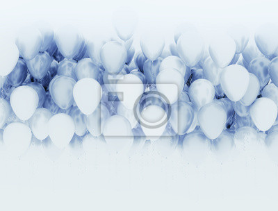 Fototapeta Blue and white party balloons