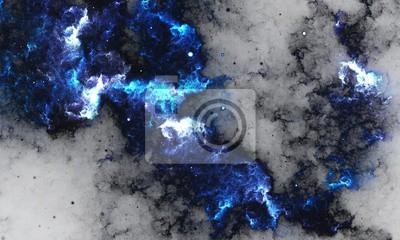 Fototapeta BlueNebula - cyfrowe malarstwo abstrakcyjne galaktyki w przestrzeni z gwiazdami