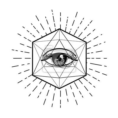 Fototapeta Błysk Tatuażu Oko Opatrzności Symbol Masoński Wszystkie Widzące