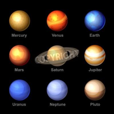 Fototapeta Błyszczące Planety kolorów z Solar Ikony systemowe. Wektor.