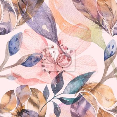 Fototapeta Boho bez szwu akwarela wzór piór i dzikich kwiatów, liści, gałęzi kwiaty, ilustracja, miłość i pióra, bohemian dekoracji wiosna kwiat