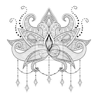 Boho Doodle Kwiat Lotosu Blackwork Wzór Tatuażu Indian Paisle