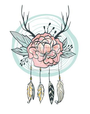 6096c6924dbc0a Fototapeta Boho karty stylu. ilustracji wektorowych. Kwiaty, pióra, rogi i  liści.