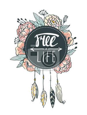 75e253041289ba Fototapeta Boho styl tła. ilustracji wektorowych. Kwiaty, pióra i liści.