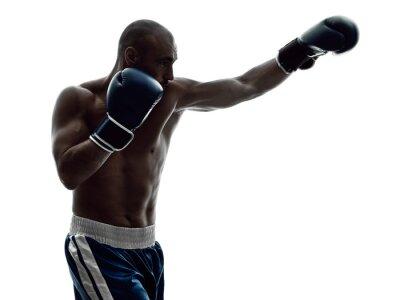 Fototapeta bokserzy mężczyzna boks pojedyncze sylwetka