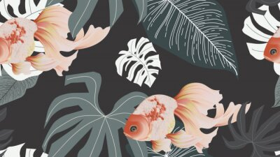 Fototapeta Botanical seamless pattern, pink lotus flowers and goldfish on dark grey background, pastel vintage style