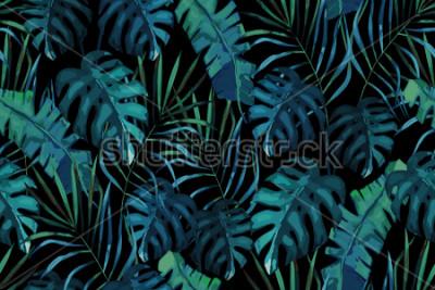 Fototapeta Botaniczny egzotyczny wzór, zielone liście tropikalne, lato wektor ilustracja na czarnym tle