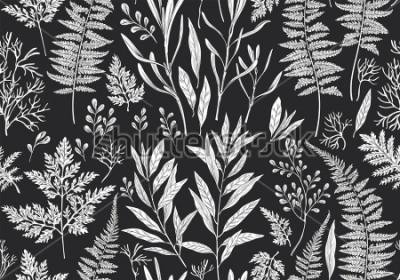 Fototapeta Botaniczny ręcznie rysowane ilustracja. Wzór z roślin, ziół, kwiatów i liści. Rocznika kwiecisty tło. Wydruk allovera wektorowego.