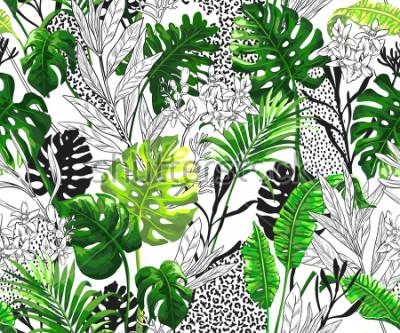 Fototapeta Botaniczny tło z tropikalnymi palmowymi liśćmi. Bezszwowe wektor wzór w modnym stylu hawajskim.