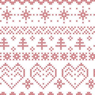 Fototapeta Boże Narodzenie bez szwu wzór inspirowane przez skandynawskich wzorów poprzecznych