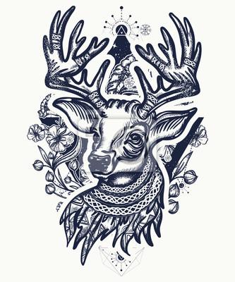 Boże Narodzenie Jelenia I Secesji Kwiaty Tatuaż I T Shirt Projekt